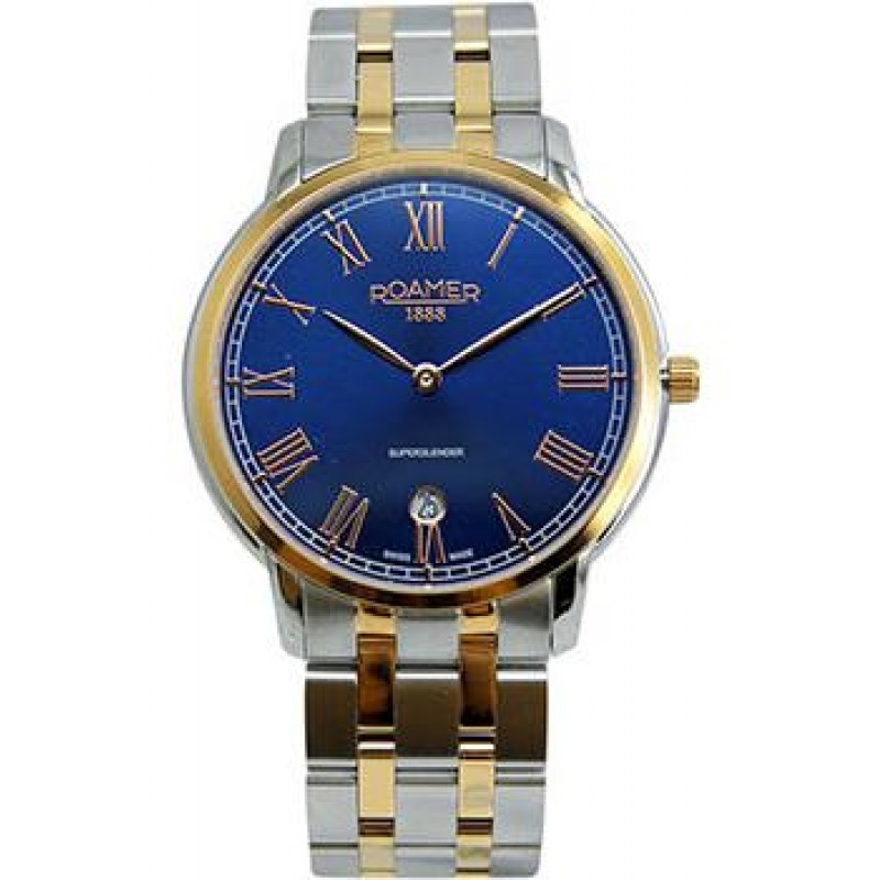 Швейцарские наручные  мужские часы Roamer 515.810.49.42.50. Коллекция Superslender