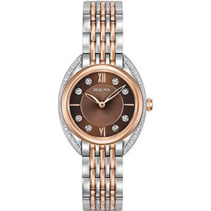 Японские наручные  женские часы Bulova 98R230. Коллекция Diamonds